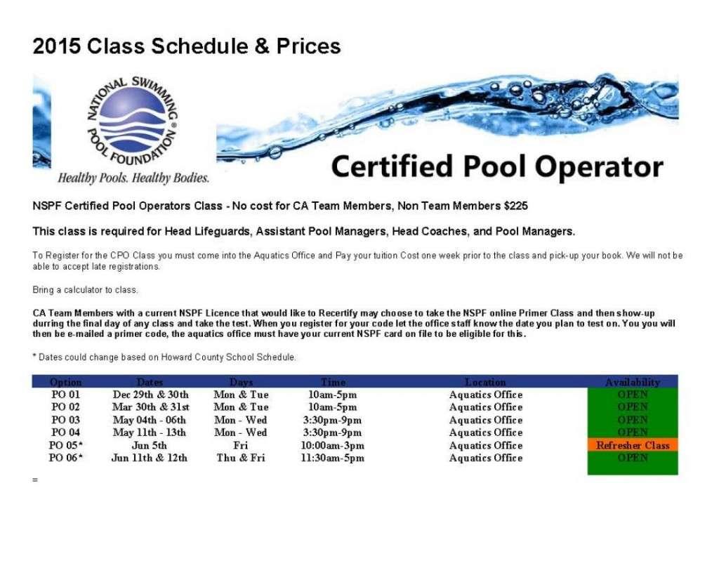Pool-Training Schedule-2015